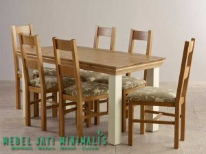 Set Meja Makan Minimalis Jati Finishing Natural